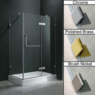 Vigo Frameless Clear Shower Enclosure and Right Base (32 x 40)