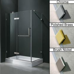 Vigo Frameless Clear Shower Enclosure and Left Base (32 x 40)