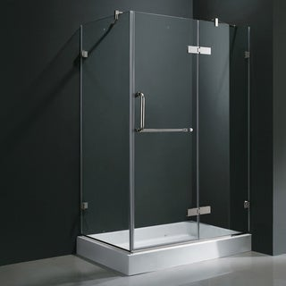 Vigo Frameless Clear Shower Enclosure and Right Base (32 x 48)
