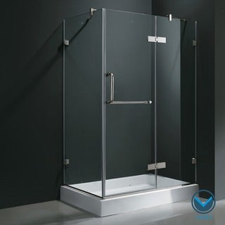 Vigo Frameless Clear Shower Enclosure and Right Base (32 x 48)
