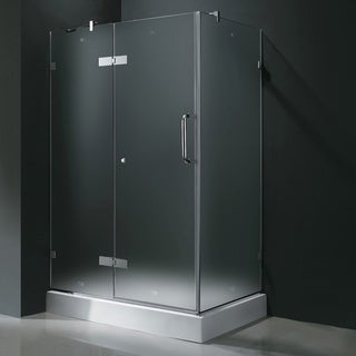 Vigo Frameless Frosted Shower Enclosure with Left Door & Base (32 x 48)