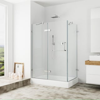 Vigo Frameless Clear Shower Enclosure and Left Base (32 x 48)