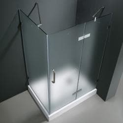 Vigo Frameless Frosted Glass Shower Enclosure with Right Door & Base (36 x 48)