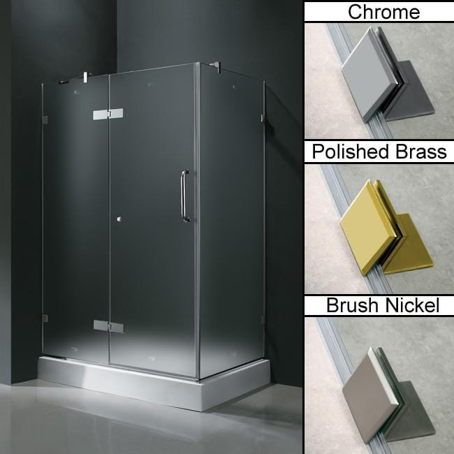 Vigo Frameless Frosted Glass Shower Enclosure with Left Door & Base (36 x 48)