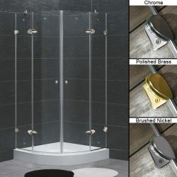 "VIGO 36 x 36 Frameless Neo-Round 1/4"" Clear Shower Enclosure with Base"