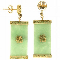 Mason Kay 14k Yellow Gold Green Jadeite Earrings