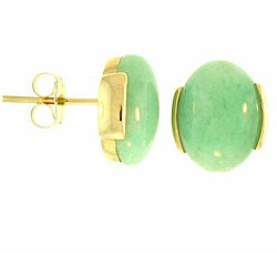 Mason-Kay 14k Yellow Gold Oval-cut Green Jadeite Stud Earrings