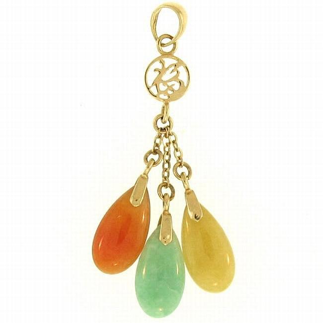 Mason Kay 14k Yellow Gold Pear-shaped Jadeite Jade Dangle Pendant