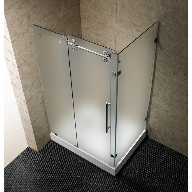 "VIGO 36 x 48 Frameless 3/8"" Frosted Left Shower Enclosure with Base"