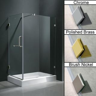 Vigo Frameless Clear Shower Enclosure with Right Base (36 x 48)