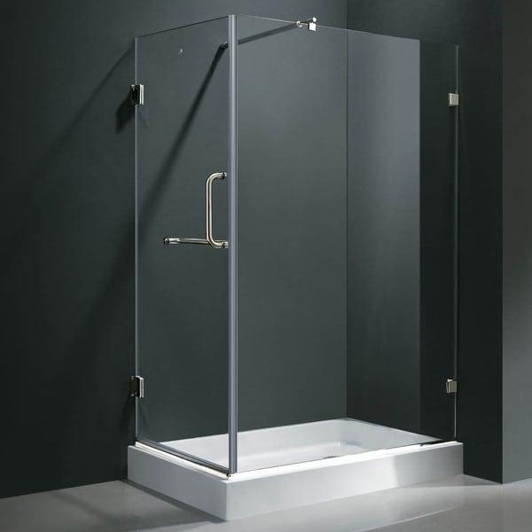 vigo frameless clear shower enclosure with right base 36