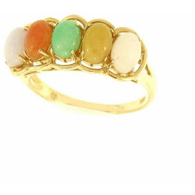 Mason Kay Natural Multi-colored Oval-cut Jade Ring, Size 7
