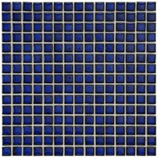 SomerTile 12.25x12.25-in Square 3/4-in Cobalt Porcelain Mosaic Tile (Pack of 10)