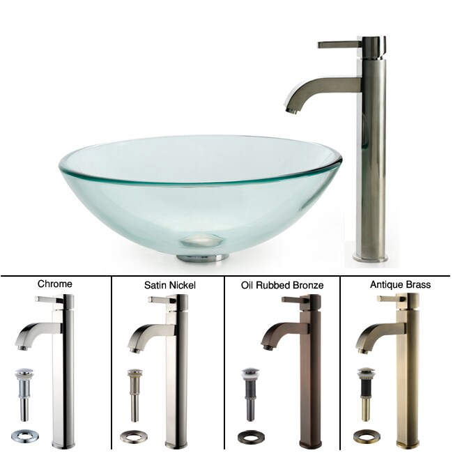 Kraus Bathroom Combo Set Clear Glass Vessel Sink with Faucet