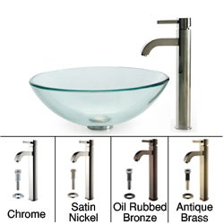 Kraus Clear Glass Vessel Sink/ Ramus Bathroom Faucet