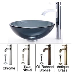 Kraus Bathroom Combo Set Black Vessel Sink with Faucet