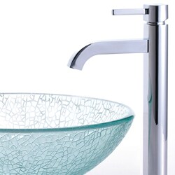 Kraus Bathroom Combo Set Broken Glass Sink with Faucet