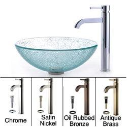 Kraus Bathroom Combo Set Broken Glass Sink with Faucet