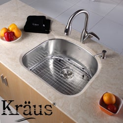Kraus Rounded Stainless Steel Kitchen Sink Bottom Grid