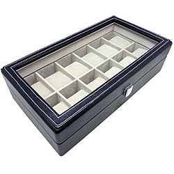 Heiden Black Leather 12 Watch Storage Box