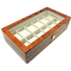 Heiden Burlwood 12 Watch Storage Box