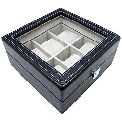 Heiden Black Leather Six Watch Storage Box