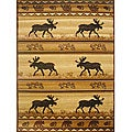 Lodge Moose Natural Area Rug (5'x8')