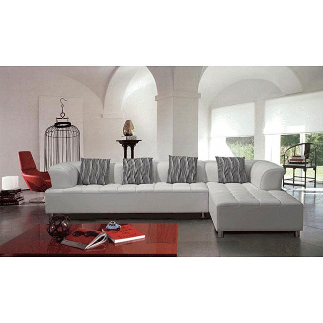 White Leather Sectional : Marthena 2-piece White Leather Sectional Sofa with Ottoman - 12700300 ...