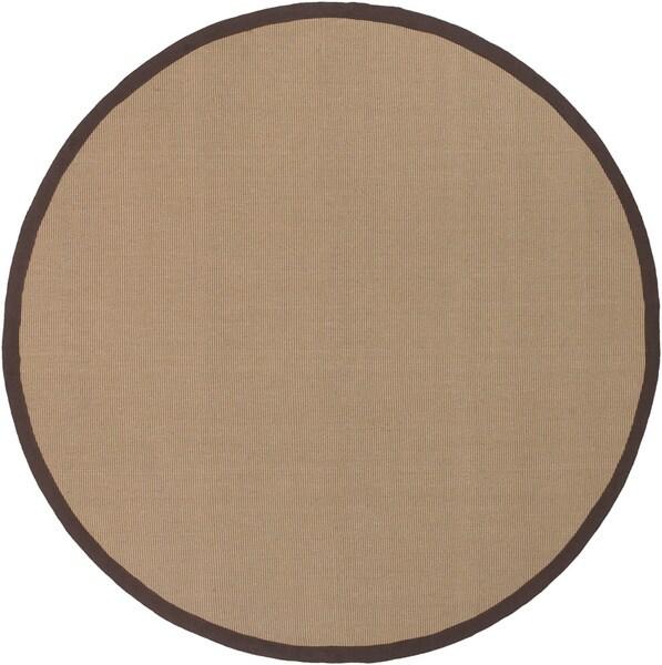 Hand-knotted Gazell Anti-slip Brown Rug (7'9 Round)