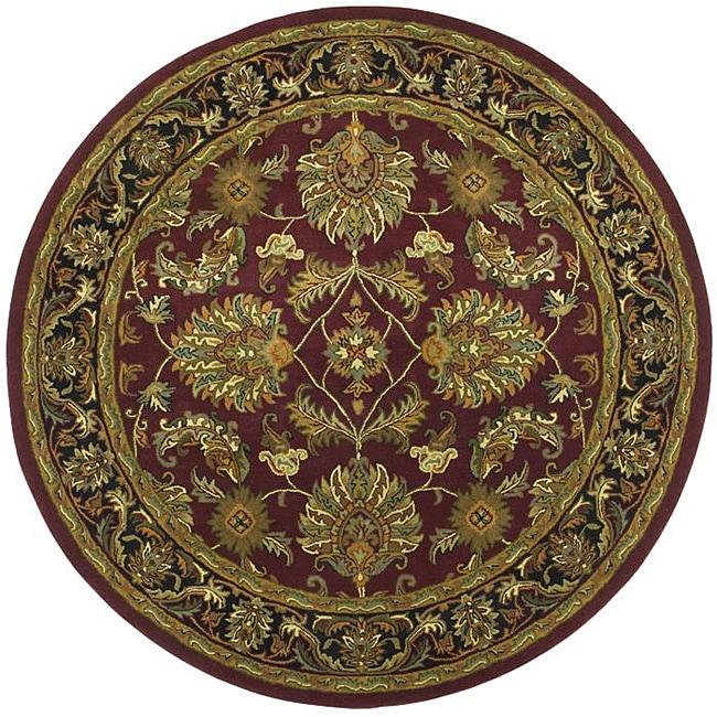 Hand-tufted Agra Burgundy New Zealand Wool Rug (8' Round)