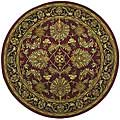 Hand-tufted Agra Burgundy New Zealand Wool Rug (8' Round)