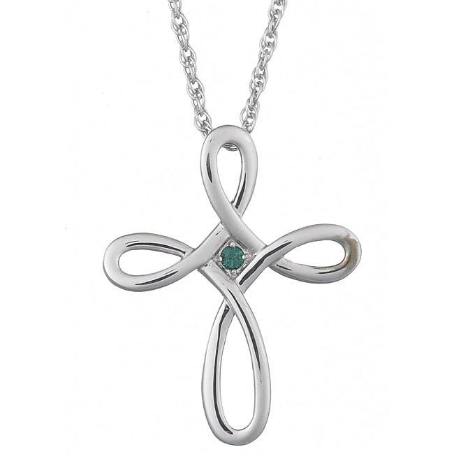 Sterling Silver Austrian Crystal Bead Loop-cross Pendant
