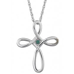 Sterling Silver Austrian Crystal Bead Loop-cross Pendant