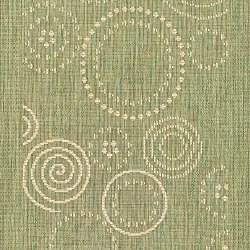 Indoor/ Outdoor Ocean Olive/ Natural Runner (2'4 x 6'7)