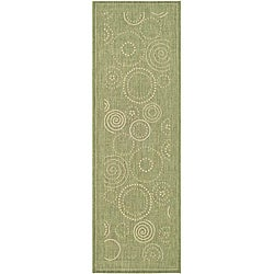 Safavieh Indoor/ Outdoor Ocean Olive/ Natural Runner (2'4 x 6'7)