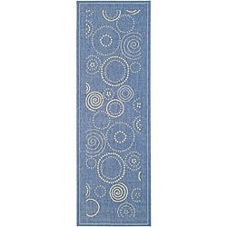 Indoor/ Outdoor Ocean Blue/ Natural Runner (2'4 x 6'7)