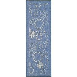 Safavieh Indoor/ Outdoor Ocean Blue/ Natural Runner (2'4 x 6'7)