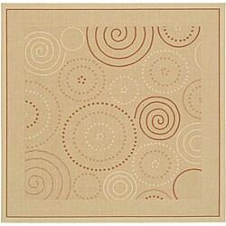 Safavieh Indoor/ Outdoor Resort Natural/ Terracotta Rug (7'10 Square)