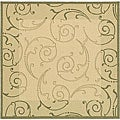 Indoor/ Outdoor Oasis Natural/ Olive Rug (6'7 Square)