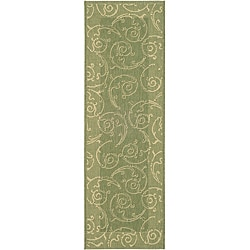 Safavieh Indoor/ Outdoor Oasis Olive/ Natural Runner (2'4 x 6'7)