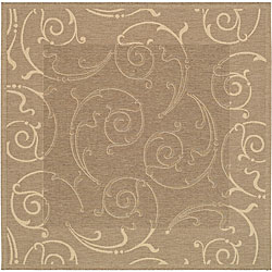 Indoor/ Outdoor Oasis Brown/ Natural Rug (7'10 Square)