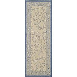 Safavieh Indoor/ Outdoor Oasis Natural/ Blue Runner (2'4 x 6'7)