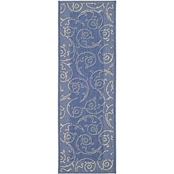 Indoor/ Outdoor Oasis Blue/ Natural Runner (2'4 x 6'7)