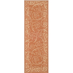 Safavieh Indoor/ Outdoor Oasis Terracotta/ Natural Runner (2'4 x 9'11)