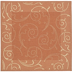 Indoor/ Outdoor Oasis Terracotta/ Natural Rug (6'7 Square)