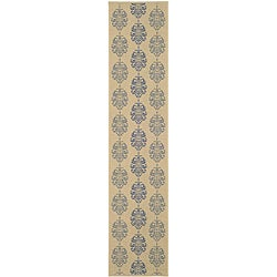 Safavieh Indoor/ Outdoor St. Martin Natural/ Blue Runner (2'4 x 9'11)
