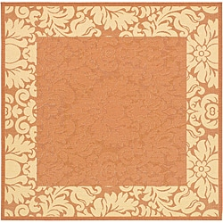 Safavieh Indoor/ Outdoor Kaii Terracotta/ Natural Rug (6'7 Square)