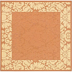 Safavieh Indoor/ Outdoor Kaii Terracotta/ Natural Rug (7'10 Square)