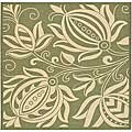 Indoor/ Outdoor Andros Olive/ Natural Rug (6'7 Square)