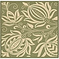 Indoor/ Outdoor Andros Olive/ Natural Rug (7'10 Square)